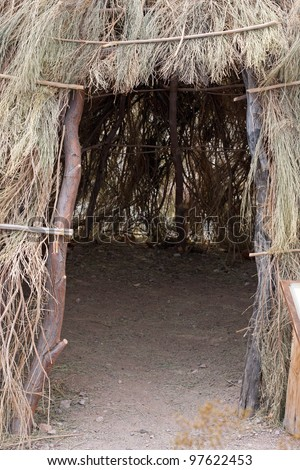 Tee Pee entrance native american made out of branches - stock photo