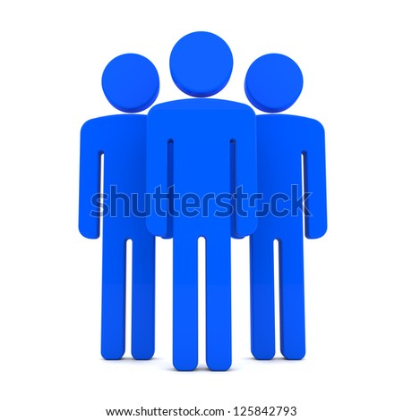 Teem of Three Blue Human Figures Standing Together on the White Background - stock photo