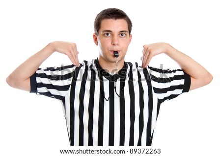 Teen basketball referee giving sign for time out - stock photo