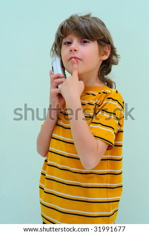 Teen Boy Relax By Talking On Wireless Telephone - stock photo