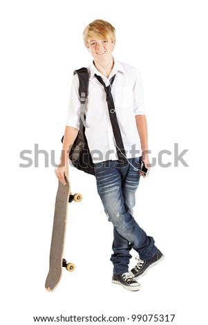 teen boy with skateboard isolated on white - stock photo