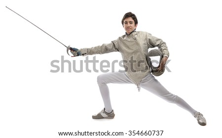 Teen fencer isolated on white background. - stock photo