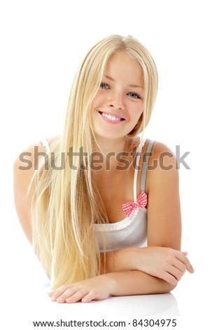 teen girl beautiful blond cheerful enjoying isolated on white background - stock photo