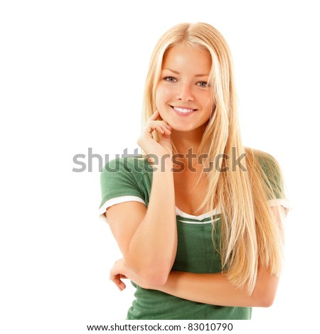 teen girl beautiful cheerful enjoying isolated on white background - stock photo