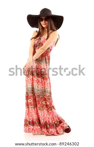 teen girl beautiful summer cheerful isolated on white background - stock photo