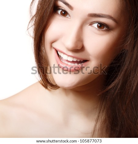 teen girl beauty face happy smiling and looking at camera - stock photo