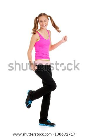 Teen girl doing fitness - stock photo