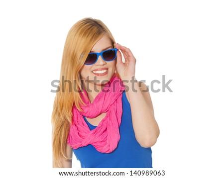 Teen girl in sunglasses - stock photo