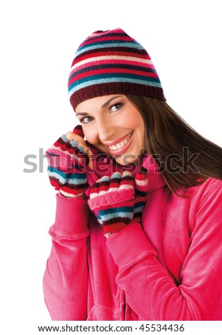 teen girl in winter clothes - stock photo