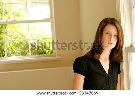 Teen girl looking sad - stock photo