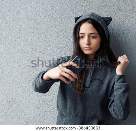 Teen girl making a selfie - stock photo