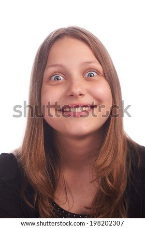 Teen girl making funny faces - stock photo