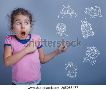 teen girl six years phobia afraid of monsters childish fear infographics on a blue background - stock photo