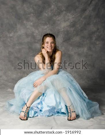 teen girl wearing prom dress - stock photo