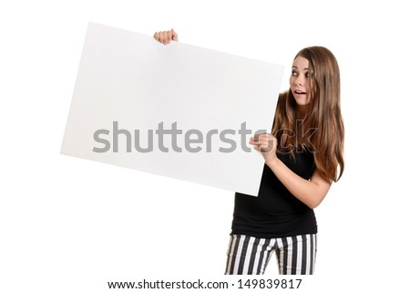 Teen girl with white large white card - stock photo