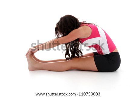Teen girl working out on a white background - stock photo