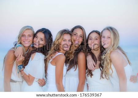 teen girls natural beauty in Ibiza - stock photo