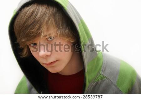 Teen in a Hoodie - stock photo