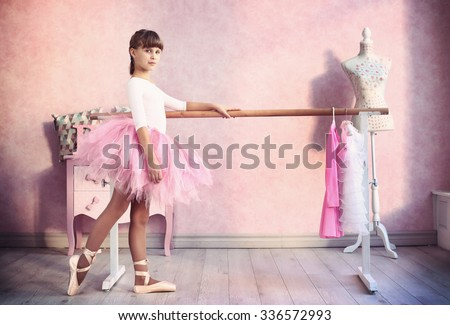 teen little girl prepare for classical dance lesson - stock photo