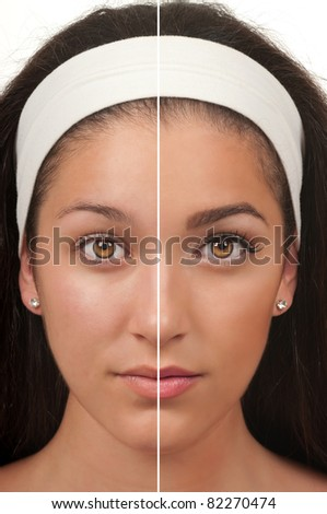 Teen make up before and after - stock photo