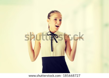 Teen woman portrait isolated on white background  - stock photo