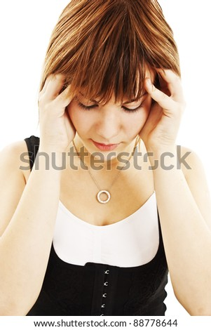 Teen woman with headache holding her hand to the head.  Isolated on white background - stock photo