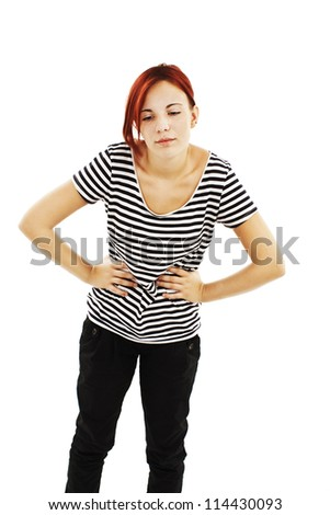 Teen woman with stomach issues.  Isolated on white background - stock photo