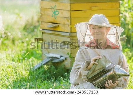 Teenage beekeeper farmer with painted wooden beehives - stock photo