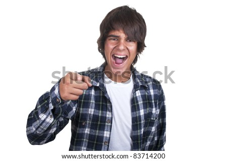 teenage boy crying on white background - stock photo