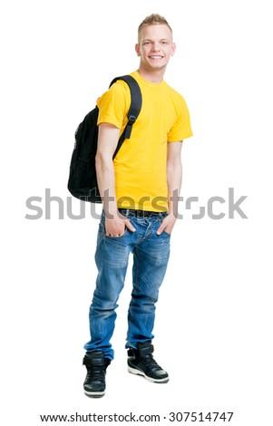 Teenage boy isolated on white  - stock photo