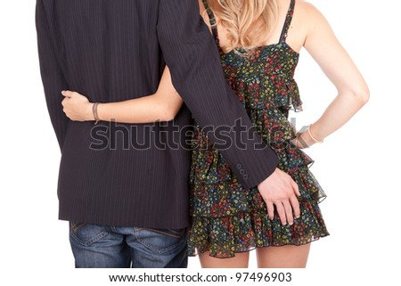 teenage couple in love, white background - stock photo