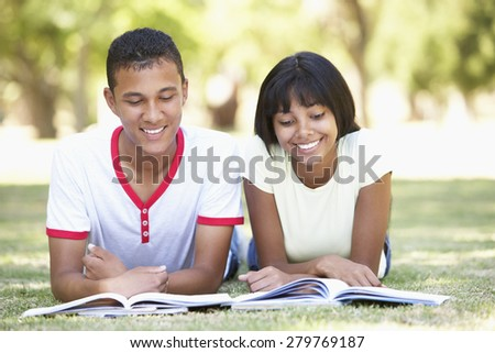 Teenage Couple Studying In Park - stock photo