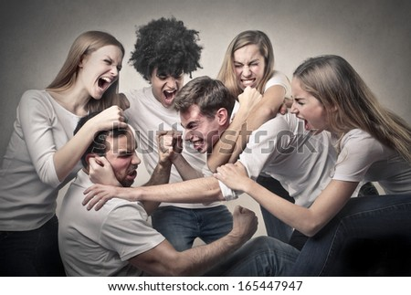 Teenage Fight - stock photo