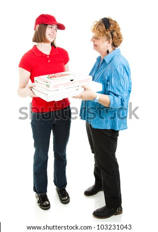 Teenage girl delivering pizza to a customer.  Full body isolated on white.  Pizza box is generic, not branded. - stock photo