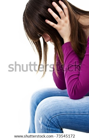 Teenage girl depression - lost love - isolated on white background - stock photo