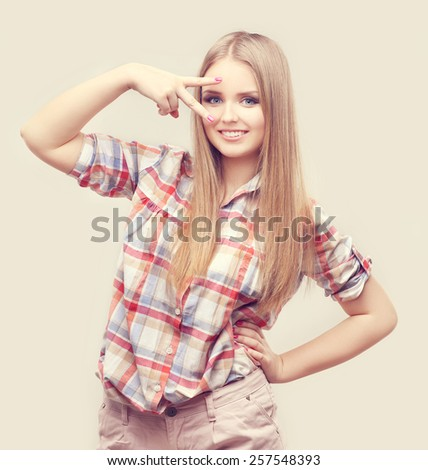 Teenage girl gesturing - stock photo