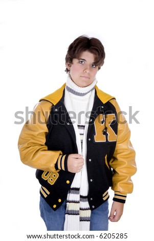 Teenage girl high school student with short brunette hair in lettermans jacket, isolated on white background - stock photo