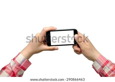 Teenage girl holding smartphone - isolated on white background - stock photo