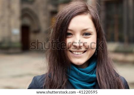 Teenage girl outside university - stock photo