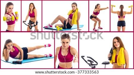 Teenage girl sport collage - stock photo