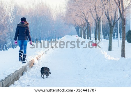Teenage girl walking the dog on cold sunny winter day. - stock photo