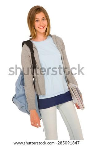 teenage girl with backpack - stock photo