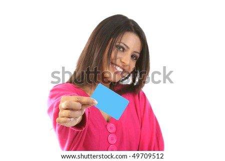 teenage girl with blank card - stock photo