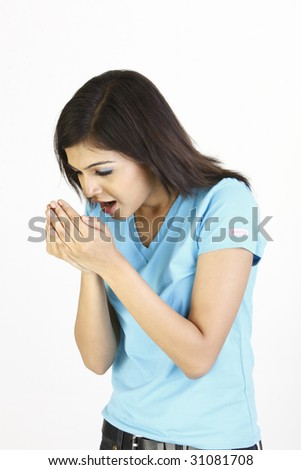 teenage girl with cough - stock photo