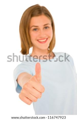 teenage girl with thumb up - stock photo