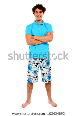 Teenage guy posing in casuals. Holiday concept - stock photo