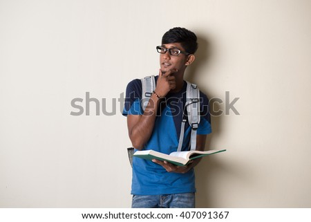 teenage indian male college student - stock photo