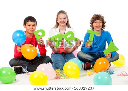 Teenage Party Time with balloons on a white background - stock photo