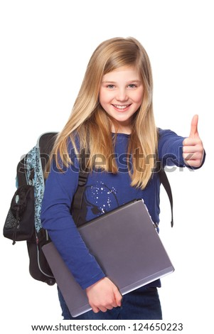 teenage schoolgirl with laptop and school bag  smiling and thumbs up - stock photo