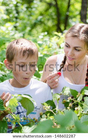 Teenage sister and little brother happy eating raspberry outdoors on the summer day green outdoors background - stock photo